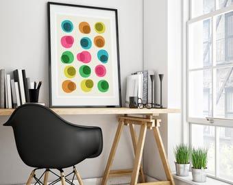 Mid-century modern art, vintage style print, abstract artwork - An Array of Circles wall art print