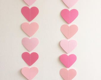 Pink Ombre Heart Garland, Party Decor, Wedding Decor, Paper/Card Garland, Decoration