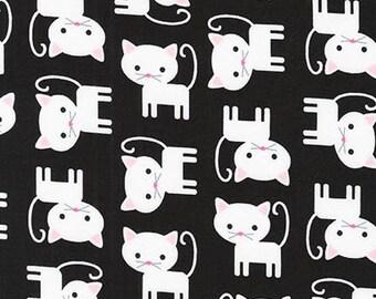 Fabric by the Yard -  Urban Zoologie Kitties on Black by Ann Kelle for Robert Kaufman