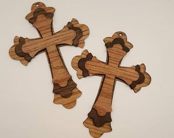 Triple layer laser cut wood cross