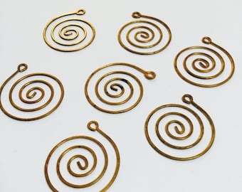 Brass Spiral Pendants - 10 Pieces -#511