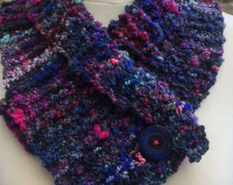 Chunky Knitted Cowl Scarf with Button in Blue and Pink Hand Spun Yarn