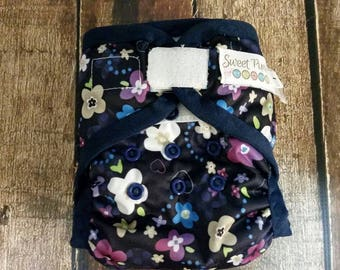Two Step Cloth Diaper Cover Blossoms on Navy Size 1 7-21 lbs Last One! PUL