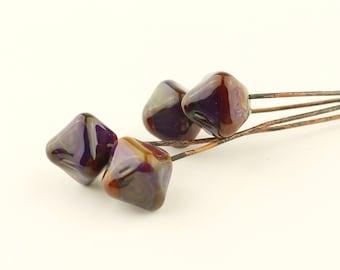 Lampwork Headpins, Glass Bead Head Pins on Antique Copper Wire, Blue, Purple, Green