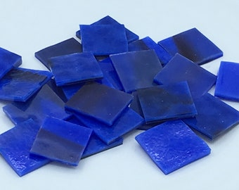 "blue opal plum streaky stained glass hand cut pieces mosaic art tiles squares 1"" Bullseye"
