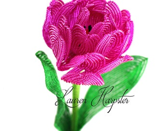 French Beaded Double Tulip Stem in Fuchsia by Lauren Harpster, Bright pink peony tulip for home decor and floral arrangements, birthday gift