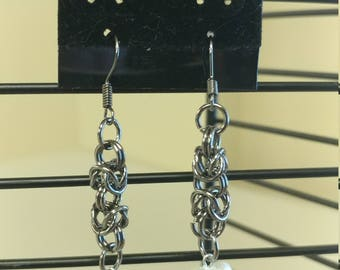 Chainmail earrings with heart