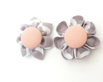 Set of 2 Flower Magnets in Grey Quatrefoil & Peach, Fridge Magnets, Magnetic, Fabric Flower, Kanzashi Flower, Bulletin Board Magnet