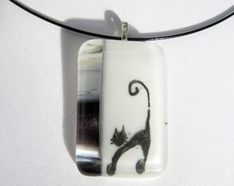 Cat lover necklace glass fused