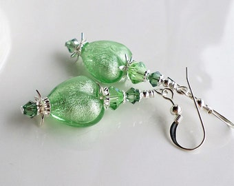 Green Murano Glass Heart Earrings, Peridot Green Crystal Earrings, White Gold Foil Murano Glass, Green Venetian Earrings, Heart Jewelry