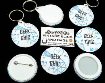 Geek chic badge, geek chic pin badge, science badge, science button, geek chic button, geek chic pin badge, cyberpunk gift, sci-fi gift,