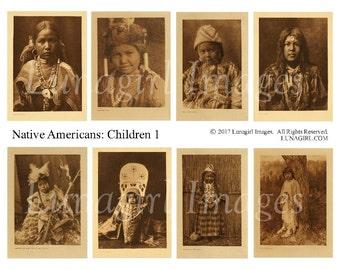 NATIVE AMERICAN CHILDREN digital collage sheet, sepia photos, vintage images, American Indians girls boys baby, ephemera printable, Download