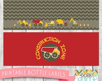 Construction Birthday Party Printable Bottle Labels PDF - Printable Party Supplies - Digger, Bulldozer Birthday Party DIY