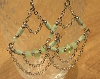 Long dangling pale green katsuki earrings