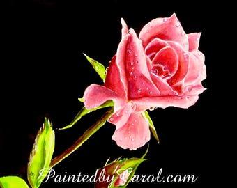 Pink Rosebud Original Watercolor Painting, Rose Painting, Rose Watercolor, Watercolor Rose, Rose Original Art, Rose Art, Rose Home Decor