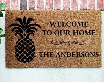 Pineapple Door Mat // Personalized Door Mat // Pineapple Welcome Mat // Personalized Pineapple Door Mat