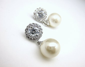 bridal earrings wedding jewelry bridesmaid gift party prom simple elegant 10mm white cream pearl dangle on cubic zirconia halo earring post