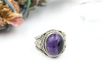 Charoite & 925 Sterling Silver Ring S. US  / FR  - Charoite Russia - Statement Ring - Boho Jewelry - Birthstone Gift
