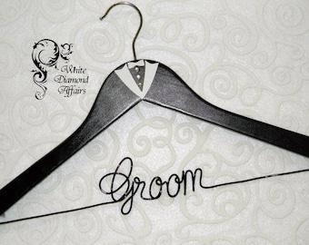 Personalized Tuxedo Wedding Hanger for Groom, Custom Wire Hanger for Best Man, Groomsman, Ring Bearer