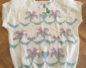 New vintage short sleeve sweater size L