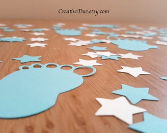 Blue and White Baby shower confetti- 208 pieces -Baby Feet Confetti, Star confetti, Gender Reveal Confetti, Baby table confetti