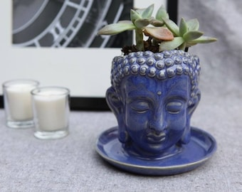 Buddha Planter in Stoneware with Medium Blue Glaze