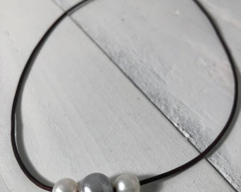 Triple White, Gray, White Freshwater Cultured Necklace