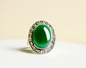Gemstone Ring, Sterling Silver Ring, Statement Ring, Vintage Ring, Green Chalcedony Ring, Emerald Green Ring, Gift for Her