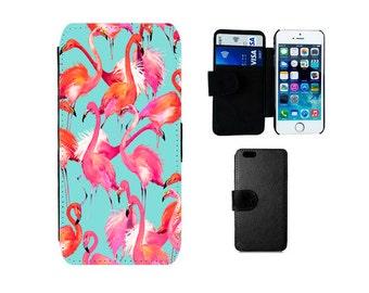 Wallet case Samsung Galaxy S8 S7 S6 Edge Plus S5 S4 Mini Note 5, iPhone wallet 8 7 6S 6 Plus X SE 5S 5C 4S Tropical Flamingos case. F294