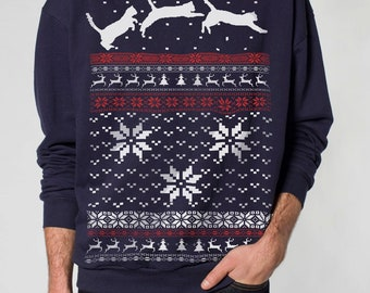 Ugly Christmas sweater -- Cat jumping in snow -- pullover cat sweatshirt -- s m l xl xxl xxxl skip n whistle