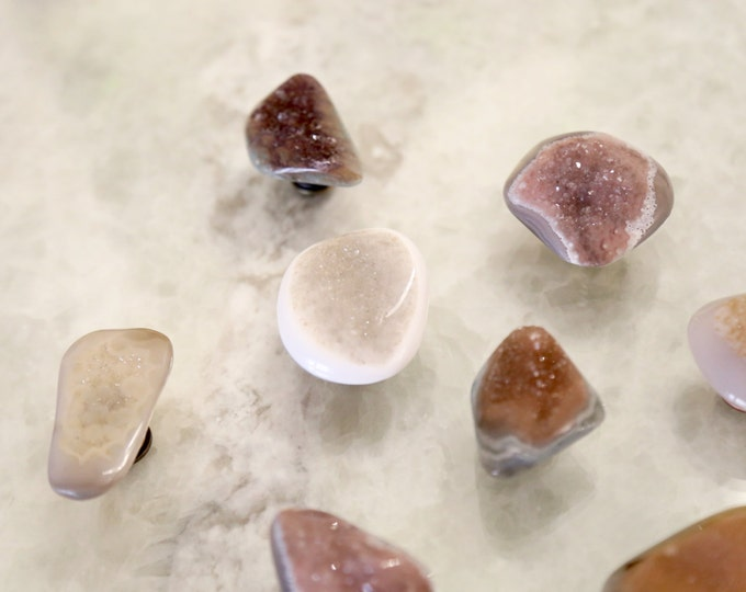 Crystal Quartz Druzy Knob--Rounded Knob--Earth Colors--Earth Colors Home Decor