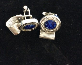 Silver and blue cuff links