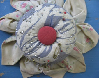 Vintage Silk Cloth Flower Pincushion with Red Button Center - 1920's