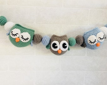 Baby stroller mobile with owls - made to order