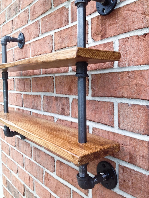Double Bookshelf Curio Shelf Vintage Industrial Reclaimed Wood