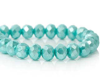 Set 20 bead abacus glass light blue faceted 8x6mm SC63727 - creating jewelry.