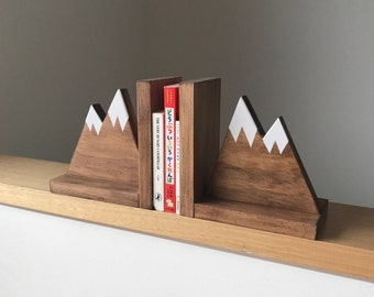 Mountain Peak Bookends, Woodland Nursery Decor, Stained Wooden Bookends, Bookends for kids, Mountain Book Ends, Hike Decor