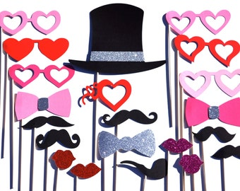 Valentines Day Photo Booth Prop Set with GLITTER - 21 pieces on a stick - Great Photobooth Props - Valentines Day GLITTER Props - SILVER
