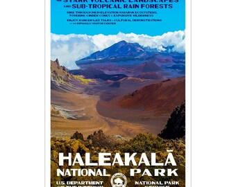 "Haleakala National Park Poster, WPA style 13"" x 19"" Signed by the artist.  FREE SHIPPING!"
