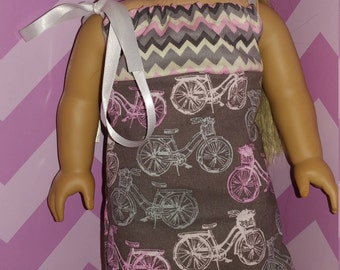 Doll Dress 18 Inch, Pink and Gray with bicycles
