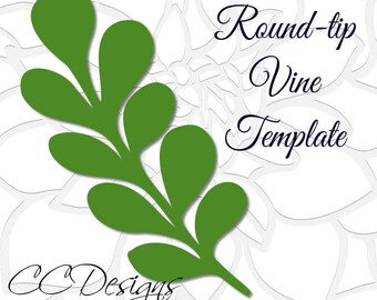 Round-tip Vine Leaf Template, Paper Vine Templates, Paper Leaf Template, SVG cut files, Instant download
