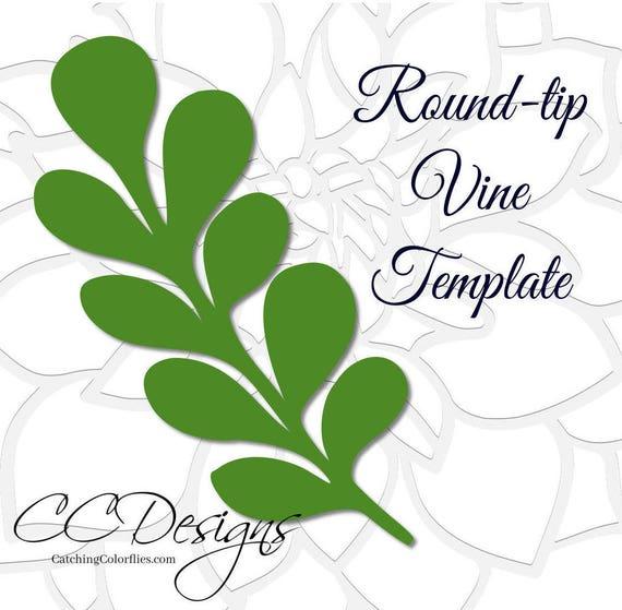 Round Tip Vine Leaf Template, Paper Vine Templates, Paper Leaf Template,  SVG Cut Files, Instant Download