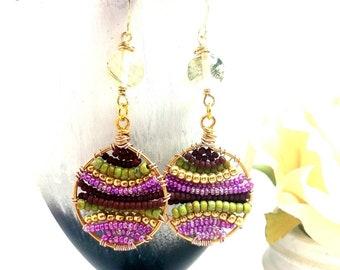 Bohemian jewelry, Boho jewelry, Bohemian earrings beaded, Boho earrings, Bohemain earrings gold, Hippie earrings dangle, Gold Gypsy earrings
