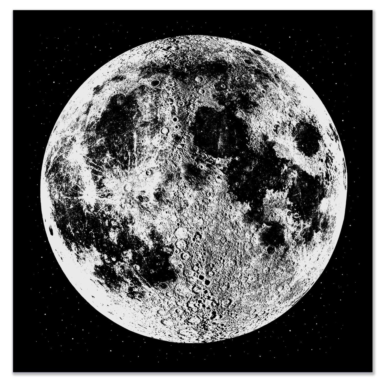 Moon Print Art Large Silver Wall
