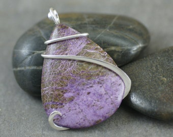 Purpurite Large Teardrop Cold Forged Sterling Silver Pendant