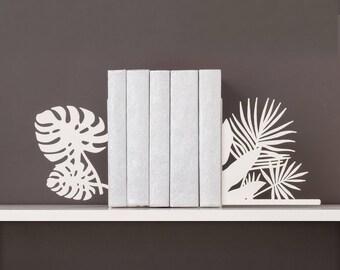 Tropical bookends Monstera leaf & palm leaf book ends Modern book end Beach decor Metal bookends Tropical art Bookworm for her Book shelf