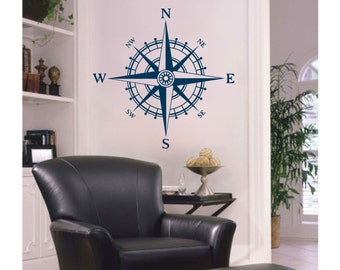 Vinyl NAUTICAL COMPASS Rose 2 Wall Decal S-112
