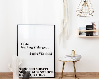 Andy Warhol print I like boring things fashion wall art Scandinavian print 50x70 large prints 24x36 Quote Print Printable Wall Art  sc 1 st  Etsy & Andy warhol | Etsy