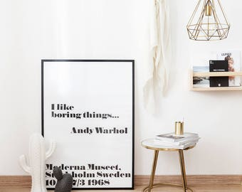 Andy Warhol print I like boring things fashion wall art Scandinavian print 50x70 large prints 24x36 Quote Print Printable Wall Art  sc 1 st  Etsy : andy warhol wall art - www.pureclipart.com