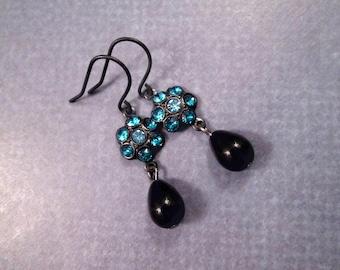 Black Drop Earrings, Vintage Glass and Blue Flowers, Gunmetal Silver Dangle Earrings, FREE Shipping U.S.